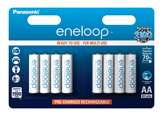 Panasonic Eneloop AA, akumulátory blistr 8 ks, 2100 cyklů, R06